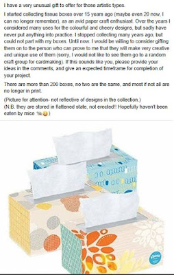 Screenshot from a Buy Nothing Facebook group offering a collection of tissue boxes for an artistic project