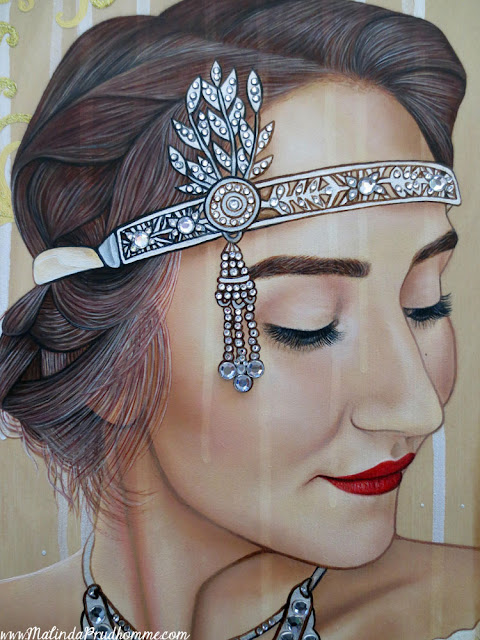 the 20s reborn, 1920, 1920s, roaring twenties, flapper, beauty, antique beauty, vintage beauty, portrait, portrait painting, canadian artist, toronto portrait artist, gems, gem art, jewelry, sculpted frame, realism, realistic portraiture