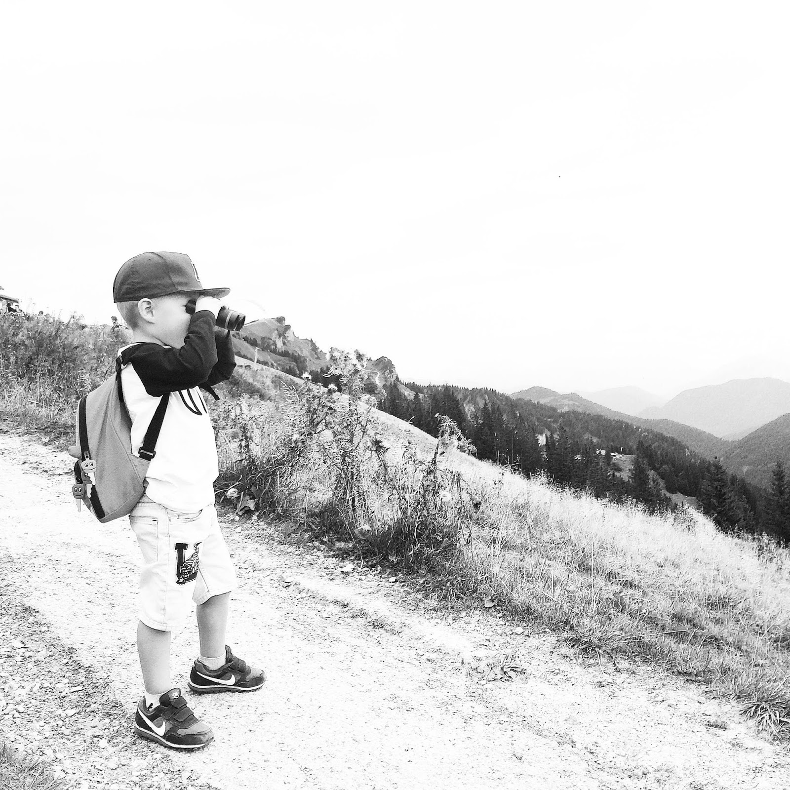 toddler hiking in the alps mount brauneck bavaria