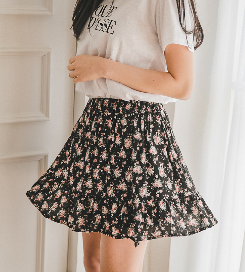 Floral Print Flared Skirt