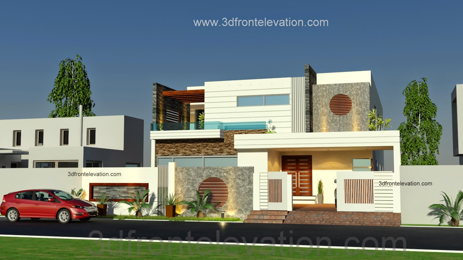 3D Front Elevation.com: 1 Kanal Beautiful Modern House