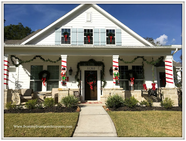 Christmas Front Porch Decorations-Farmhouse Porch-Nutcrackers-Porch Swing-From My Front Porch To Yours
