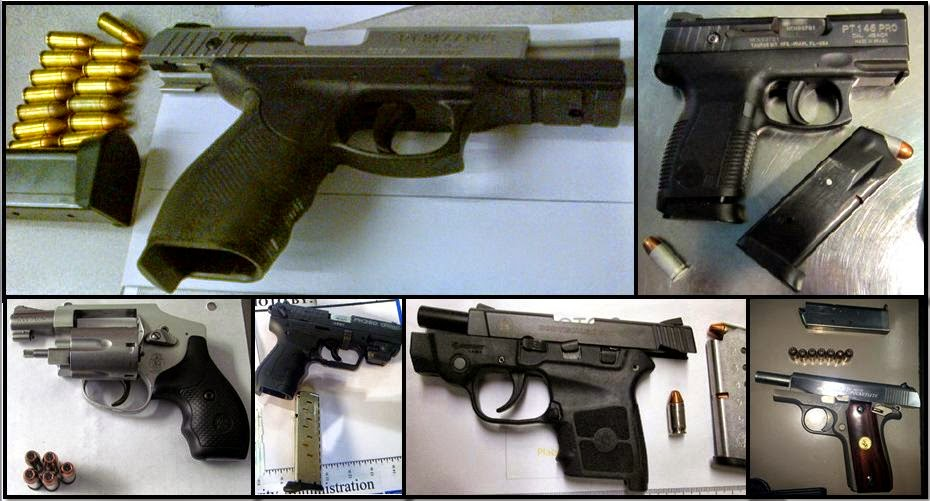 Clockwise from top left, firearms discovered in carry-on bags at:PIT, BFL, BNA, ORF, AUS & FAY
