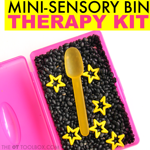 Make a mini star sensory bin and use it to address fine motor skills, bilateral coordination, eye-hand coordination, and other skills as part of an occupational therapy activity kit bin rotation system while addressing therapy goals with kids.