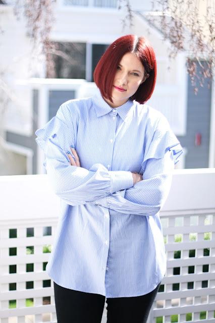 Frill shoulder details, zara shirt, womens fashion, fashion inspiration