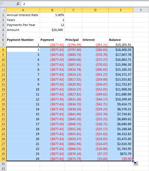 Excel formula to calculate auto loan payment 11