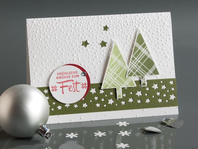 Weihnachtskarte, Sternenstanze, Weihnachtsbaumstanze, Stampin up