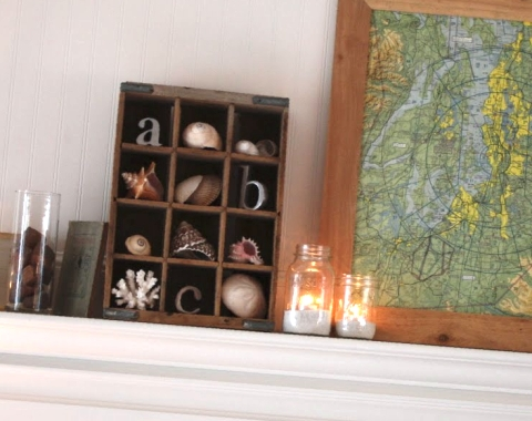 seashell decor idea with bottle crate