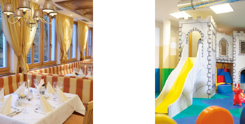 Speisesaal und Indoor Spielplatz im Familienhotel Hopfgarten****