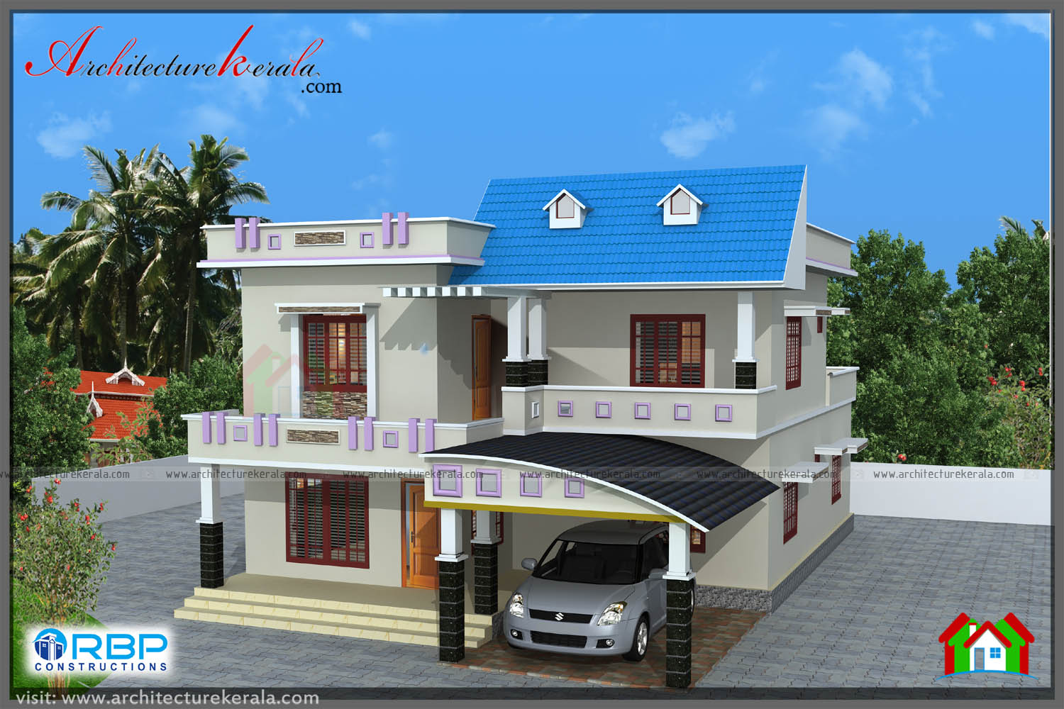Beautiful house plan with 4 bedroom architecture kerala for Beautiful four bedroom houses