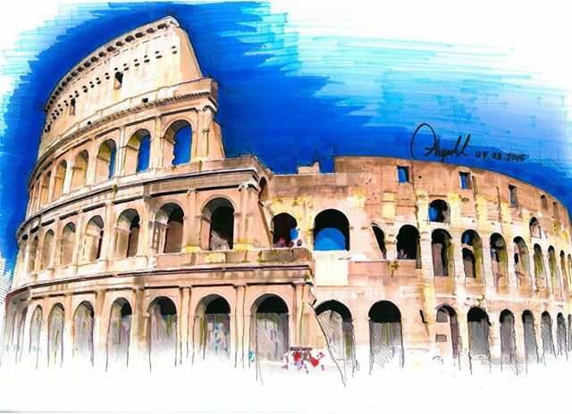 24-Colosseum-Ayşe-Bakır-Versatility-in-Eclectic-Colored-Drawings-www-designstack-co