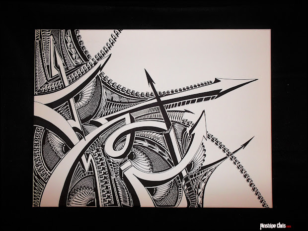 Pinstripe Chris Sharpie Art Canvas Complete