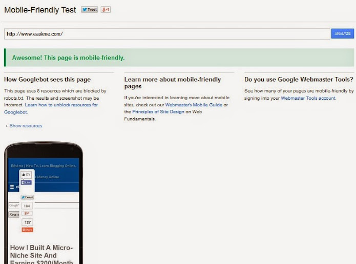 Google`s Mobile Friendly testing tool and Mobile Friendly Label : eAskme