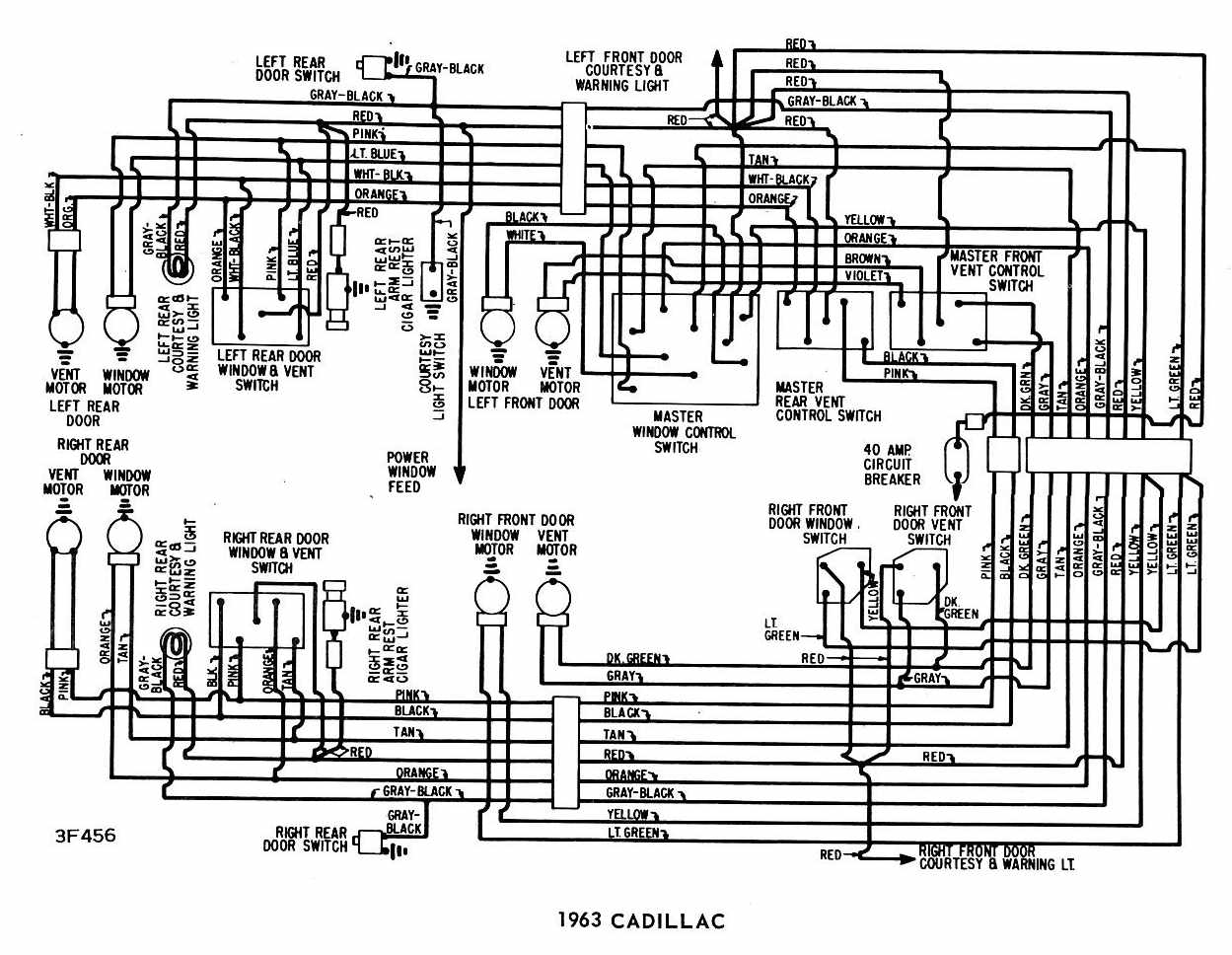 download Cadillac 1963 Windows circuit Wiring Diagram