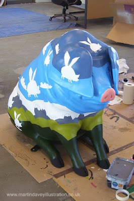 M P Davey more colours applied pigs may fly art WIP