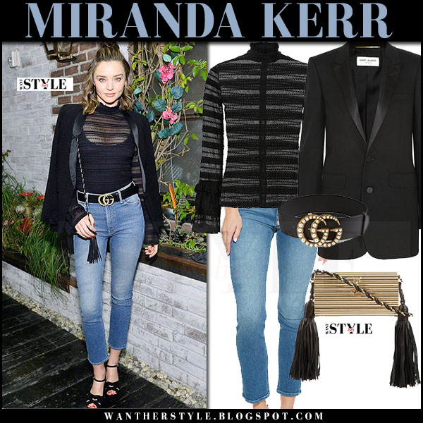 Miranda Kerr in black blazer, sheer black top, skinny jeans mother with gold logo leather gucci belt what she wore