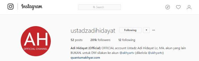 Alamat Website & Sosial Media Resmi (Official) Ustadz Adi Hidayat