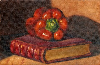 Oil painting of a red pepper on top of a red leather-bound book with aged gilt edging.