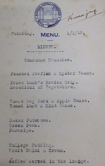 Hotel Kurrajong Dinner Menu 1 January 1927