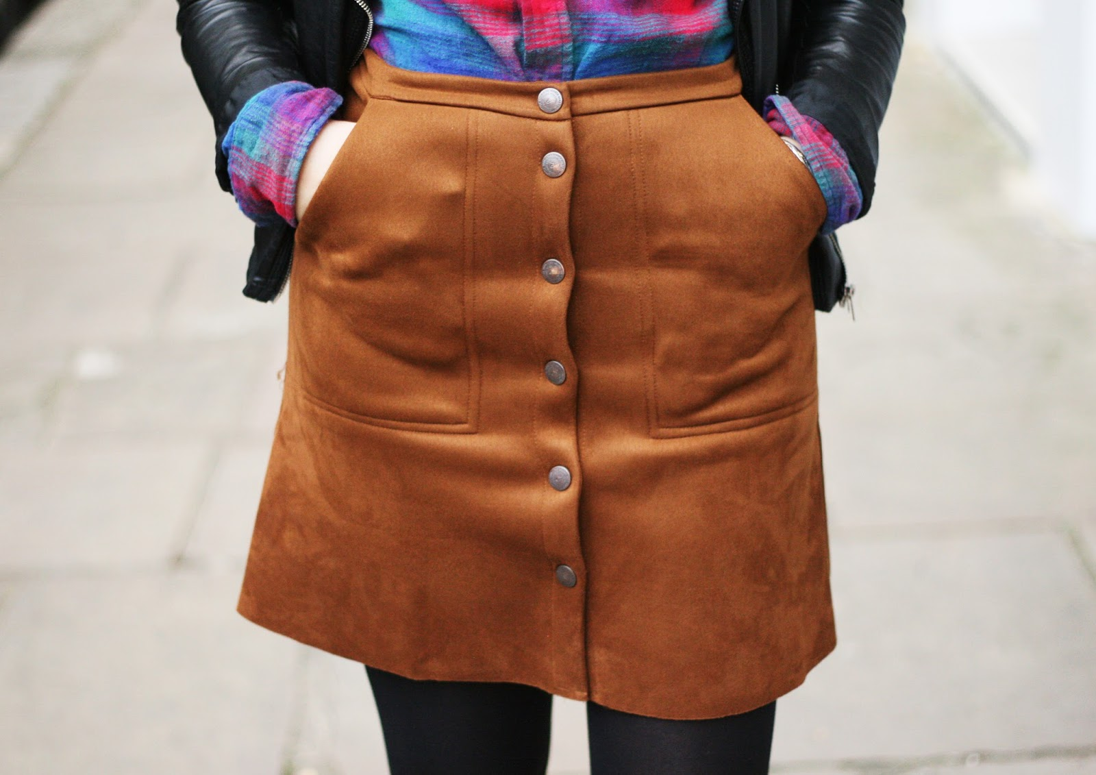 Suede button-up a-line skirt