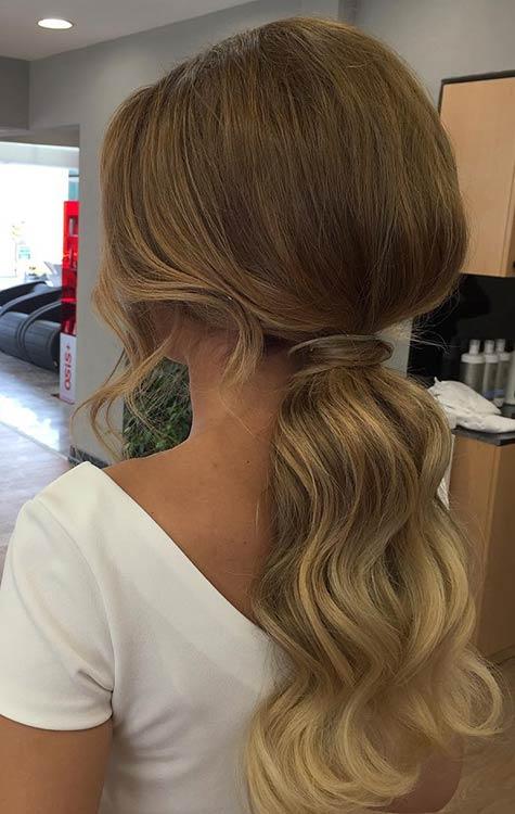 ELEGANT, LOW PONYTAIL prom hairstyles