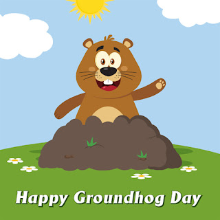 Clipart image of a Happy Groundhog Day greeting