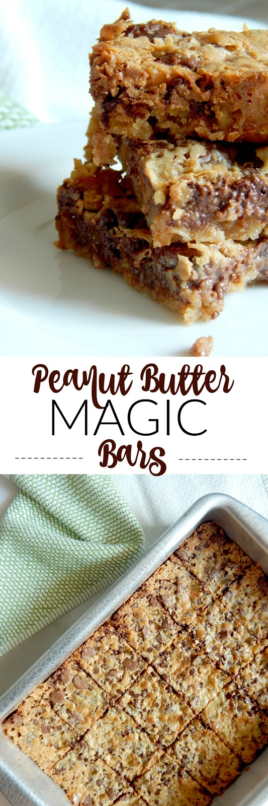 Peanut Butter Magic Bars...a chewy, sticky, buttery peanut butter and chocolate dessert bar that everyone loves!  (sweetandsavoryfood.com)