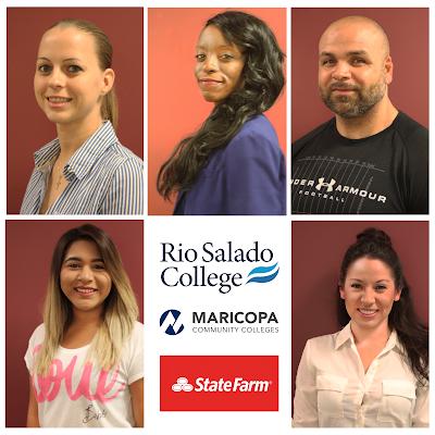 Montage of Rio Salado Insurance Studies students, Rio Salado, Maricopa Community Colleges and State Farm logo