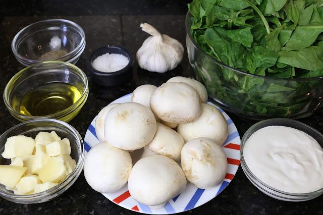 Ingredientes para champiñones con espinacas y queso