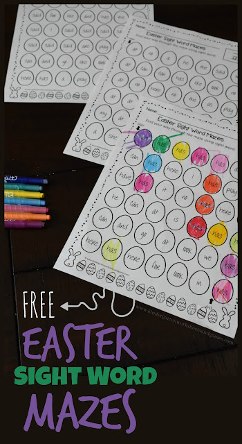 FREE Easter Sight Word Mazes - these free printable worksheets for kids are such a fun way for preschool, kindergarten and first grade kids to practice key sight words with a fun, color by sight word activity. This is perfect for an Easter center, homework, extra practice, spring break, homeschool, and more.