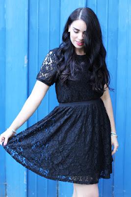Emma Louise Layla in black lace Yumi dress - UK fashion blog