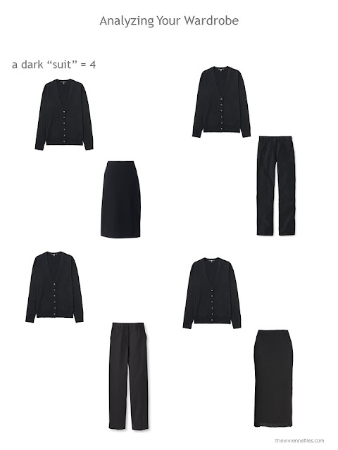 Evaluating a wardrobe based on the ability to construct a suit