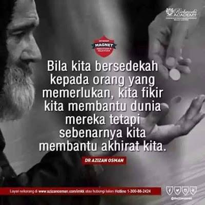 islamic quote, bila kita bersedekah, kebaikan bersedekah