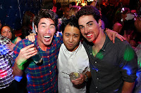 Guys partying in a nightclub