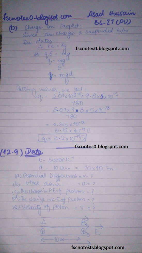 F.Sc ICS Notes: Physics XII: Chapter 12 Electrostatics Numerical Problems by Asad Hussain 9