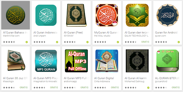 Al Quran Indonesia muncul pada 12 Aplikasi Al Quran di Google Playstore