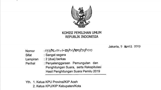 Surat Edaran KPU No. 653 dan No. 704 Cap Kepada Ketua KPU Provinsi, KIP Aceh, dan KPU Kab Kota