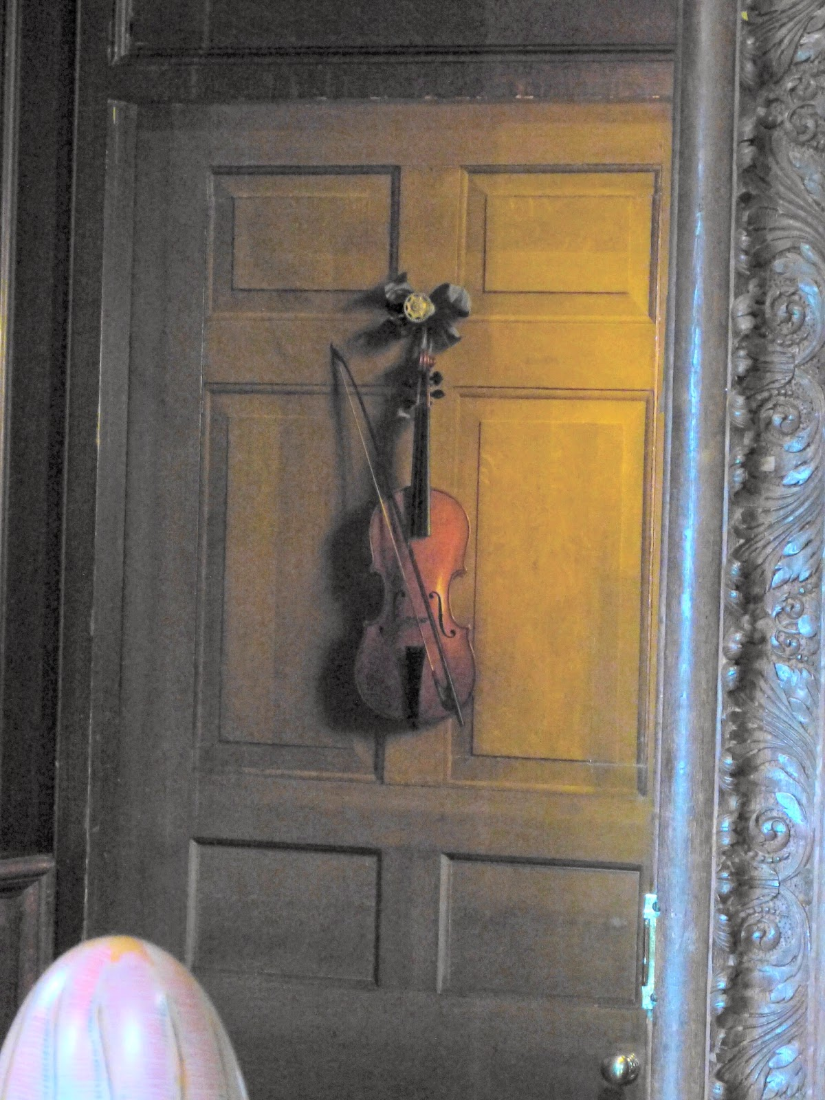 The violin door  in the State Music Room, Chatsworth