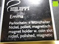 Aufkleber: Philippi Parkscheinhalter und Münzhalter EMMA
