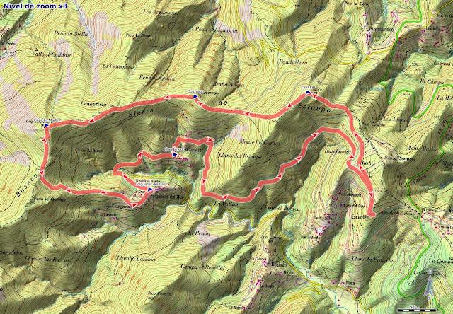 Mapa de la ruta Aristébano, Estoupo, Capiella Martín