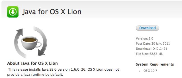 Seguridad Apple: Java en Mac OS X Lion es un Opt-in por