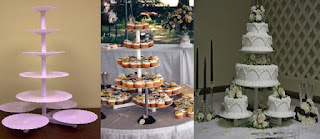 Stunning Towering Tiers Wedding Cake and Cupcakes Stands