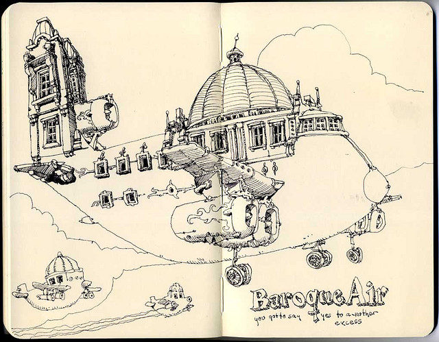 07-Baroque-Air-Mattias-Adolfsson-Surreal-Architectural-Moleskine-Drawings-www-designstack-co