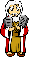 This is an illustration of Moses holding the two tablets containing the 10 Commandments. A colorful and friendly graphic.