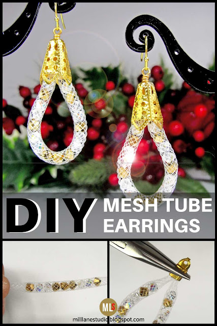 Mesh tube teardrop earrings project sheet