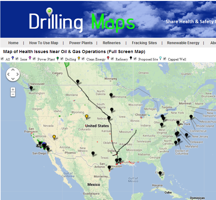 Map Of Oil Gas Activist Locations Around Us - Us-oil-refineries-map