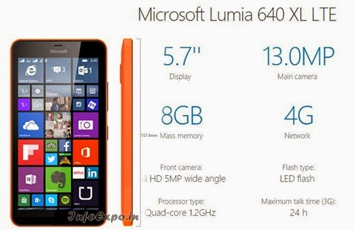 MicrosoftLumia 640 XL LTE: 5.7 inch, 4G Windows Smartphone Specs, Price