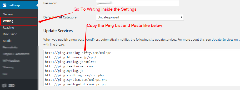 How to add this Ping List URLs In WordPress Blog?