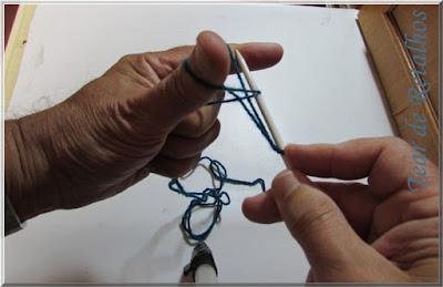 Foto mostrando a posição que deverá entrar a agulha para pegar o laço que está no dedo indicador na montagem à italiana dos pontos de tricô