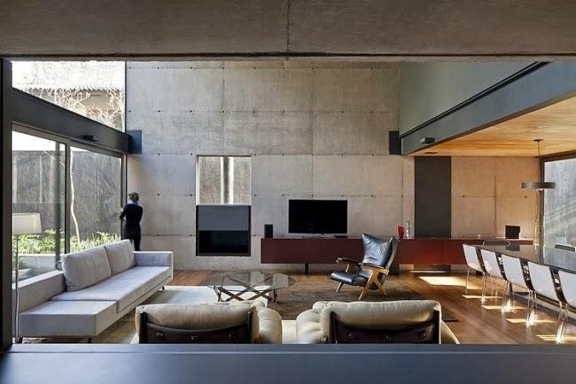 Salas decoradas con paredes de concreto salas con estilo for Paredes de cemento